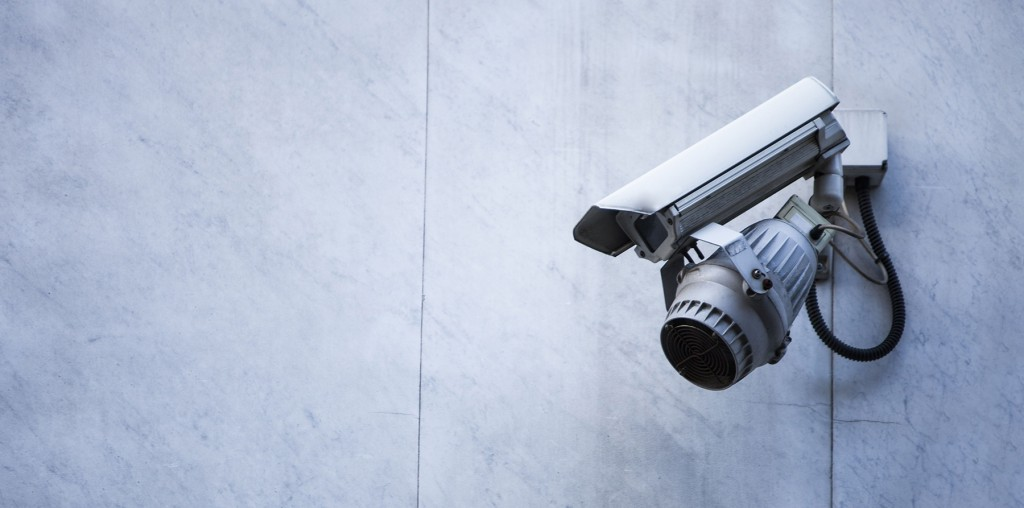 Mandatory Credit: Photo by Mood Board / Rex Features (2127469a) Close-up of CCTV security camera on wall VARIOUS